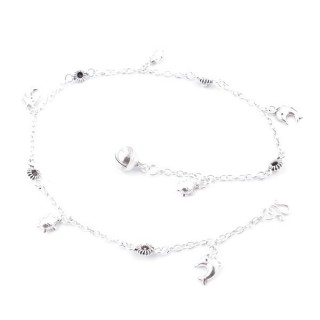 52019 STERLING SILVER ANKLET WITH DOLPHINS