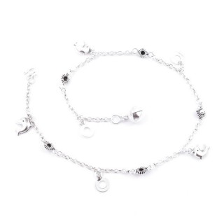 52014 STERLING SILVER ANKLET WITH DOLPHINS