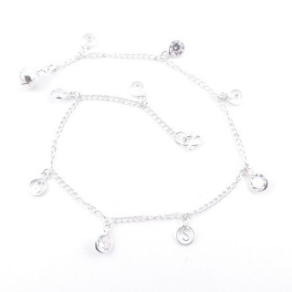 36550-01 STERLING SILVER ANKLET WITH GLASS STONES