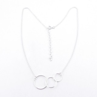 52005 STERLING SILVER 40 + 5 CM NECKLACE WITH 3 RINGS