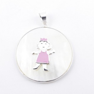 31995 SILVER & MOTHER OF PEARL 33 MM PENDANT WITH GIRL