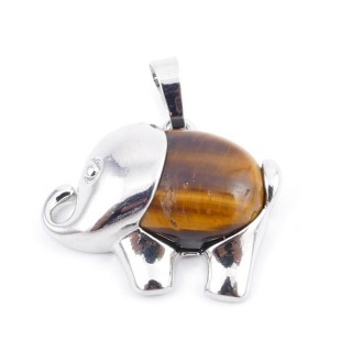 36031-09 METAL ELEPHANT 23 X 27 MM PENDANT WITH STONE IN TIGER'S EYE