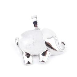 36031-01 METAL ELEPHANT 23 X 27 MM PENDANT WITH STONE IN WHITE QUARTZ