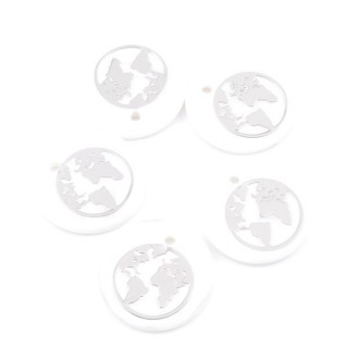 36219-01 PACK OF 4 SHELL 25 MM PENDANTS OF WORLD MAP