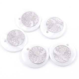 36219-09 PACK OF 4 SHELL 25 MM PENDANTS OF TREE OF LIFE