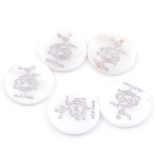36219-10 PACK OF 4 SHELL 25 MM PENDANTS OF TE QUIERO MUCHO