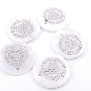 36219-20 PACK OF 4 SHELL 18 MM PENDANTS OF VALKNUT