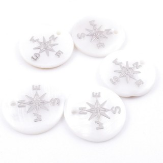 36219-22 PACK OF 4 SHELL 18 MM PENDANTS OF CARDINAL POINTS