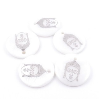 36219-27 PACK OF 4 SHELL 25 MM PENDANTS OF BUDDHA