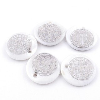 36218 PACK OF 4 SHELL 25 MM PENDANTS OF SAINT BENEDICT