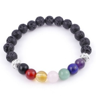 36303-01 LAVA AND 7 CHAKRA STONE 8 MM ELASTIC BRACELET