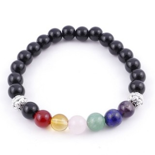 36303-02 ONYX AND 7 CHAKRA STONE 8 MM ELASTIC BRACELET