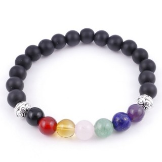 36303-03 SHUNGITE AND 7 CHAKRA STONE 8 MM ELASTIC BRACELET