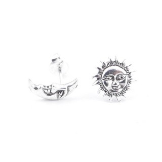 55097 STERLING SILVER MOON & SUN 10 MM POST EARRINGS