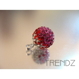 14845 FUCHSIA 14MM SILVER ZIRCON BALL PENDANT