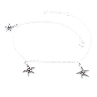 55081 THIN STERLING SILVER 24 + 3 CM ANKLET WITH STARFISH CHARMS