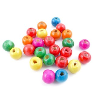 36273-01 PACK OF 1 KILO OF 10 MM ROUND WOODEN BEADS
