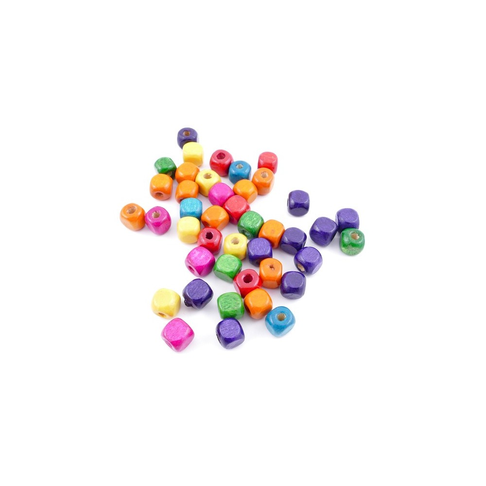 36272-01 PACK OF 1 KILO OF 8 MM CUBIC WOODEN BEADS