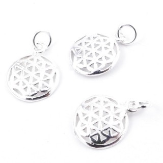 55138 PACK OF 3 FLOWER OF LIFE SHAPED 11 MM STERLING SILVER PENDANTS