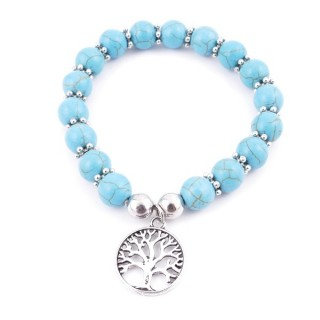 36225-02 ELASTIC 10 MM RECONTRUCTED TURQUOISE BRACELET WITH TREE OF LIFE CHARM
