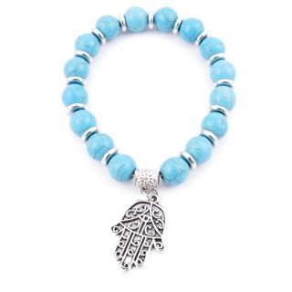 36225-03 ELASTIC 10 MM RECONTRUCTED TURQUOISE BRACELET WITH HAMSA CHARM