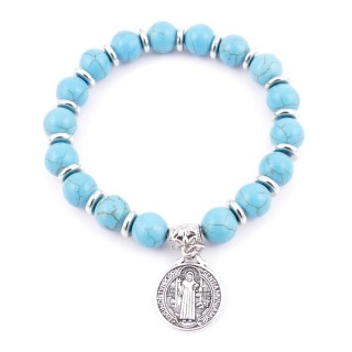 36225-05 ELASTIC 10 MM RECONTRUCTED TURQUOISE BRACELET WITH SAINT BENEDICT CHARM