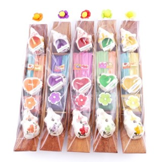 37100-01 SET OF 5 INCENSE STANDS WITH PERFUMED CANDLES