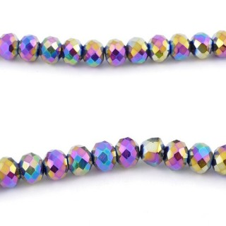 35832-17 STRING OF 72 FACETED 8 MM DOUGHNUT SHAPED GLASS BEADS