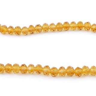 35831-05 STRING OF 100 FACETED 6 MM DOUGHNUT SHAPED GLASS BEADS