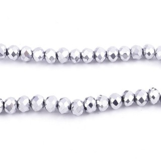 35831-19 STRING OF 100 FACETED 6 MM DOUGHNUT SHAPED GLASS BEADS