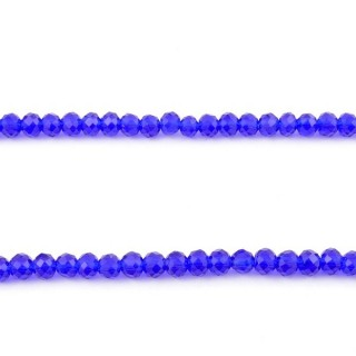 35830-06 STRING OF 100 FACETED 4 MM DOUGHNUT SHAPED GLASS BEADS