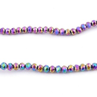 35830-17 STRING OF 100 FACETED 4 MM DOUGHNUT SHAPED GLASS BEADS