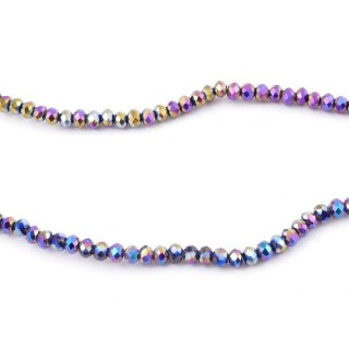 35828-17 STRING OF 200 FACETED 2 MM DOUGHNUT SHAPED GLASS BEADS