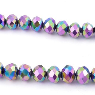 35833-17 STRING OF 72 FACETED 10 MM DOUGHNUT SHAPED GLASS BEADS