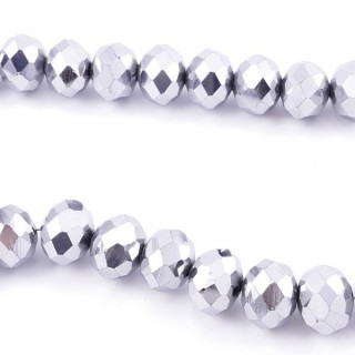 35833-19 STRING OF 72 FACETED 10 MM DOUGHNUT SHAPED GLASS BEADS