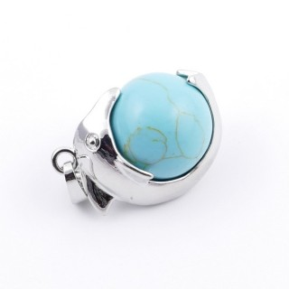 36983-03 METAL DOLPHIN PENDANT WITH 16 MM NATURAL TURQUOISE MINERAL STONE