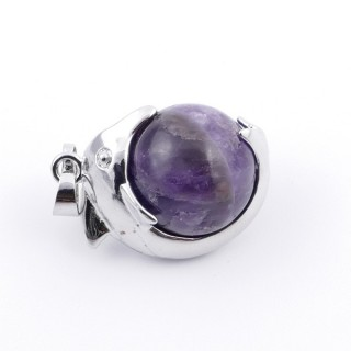 36983-05 METAL DOLPHIN PENDANT WITH 16 MM NATURAL AMETHYST MINERAL STONE