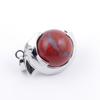 36983-15 METAL DOLPHIN PENDANT WITH 16 MM NATURAL RED JASPER MINERAL STONE
