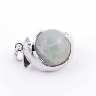 36983-25 METAL DOLPHIN PENDANT WITH 16 MM NATURAL FLUORITE MINERAL STONE