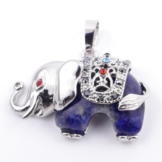 36981-13 METAL 25 X 36 MM ELEPHANT PENDANT WITH LAPIS LAZULI MINERAL STONE