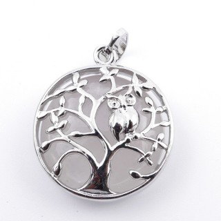 36979-01 FASHION JEWELLERY TREE OF LIFE 27 MM PENDANT WITH STONE IN WHITE QUARTZ