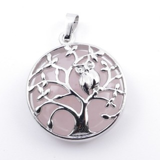 36979-02 FASHION JEWELLERY TREE OF LIFE 27 MM PENDANT WITH STONE IN ROSE QUARTZ