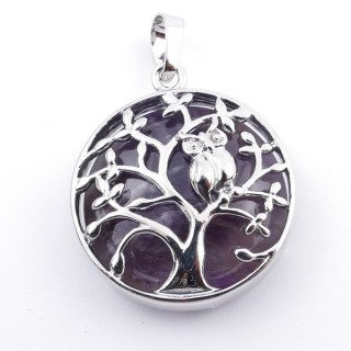 36979-05 FASHION JEWELLERY TREE OF LIFE 27 MM PENDANT WITH STONE IN AMETHYST