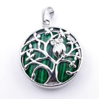 36979-06 FASHION JEWELLERY TREE OF LIFE 27 MM PENDANT WITH STONE IN MALACHITE