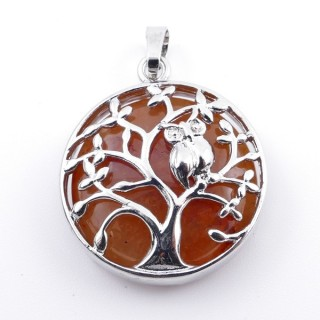 36979-07 FASHION JEWELLERY TREE OF LIFE 27 MM PENDANT WITH STONE IN CARNEOLA