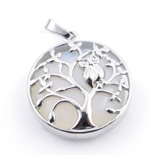 36979-08 FASHION JEWELLERY TREE OF LIFE 27 MM PENDANT WITH STONE IN OPALINE