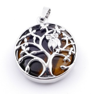 36979-09 FASHION JEWELLERY TREE OF LIFE 27 MM PENDANT WITH STONE IN TIGER'S EYE