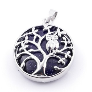 36979-11 FASHION JEWELLERY TREE OF LIFE 27 MM PENDANT WITH STONE IN BLUE SANDSTONE