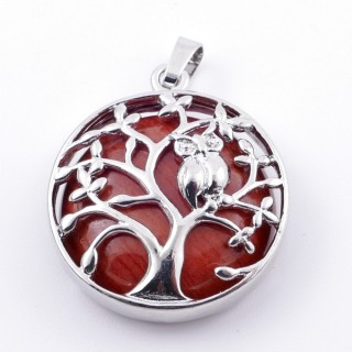 36979-15 FASHION JEWELLERY TREE OF LIFE 27 MM PENDANT WITH STONE IN RED JASPER