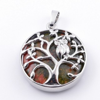 36979-20 FASHION JEWELLERY TREE OF LIFE 27 MM PENDANT WITH STONE IN UNAKITE